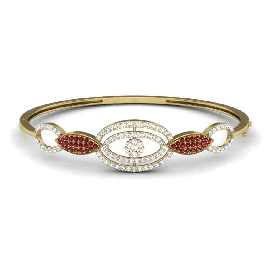 Red N White Diamond Bangle