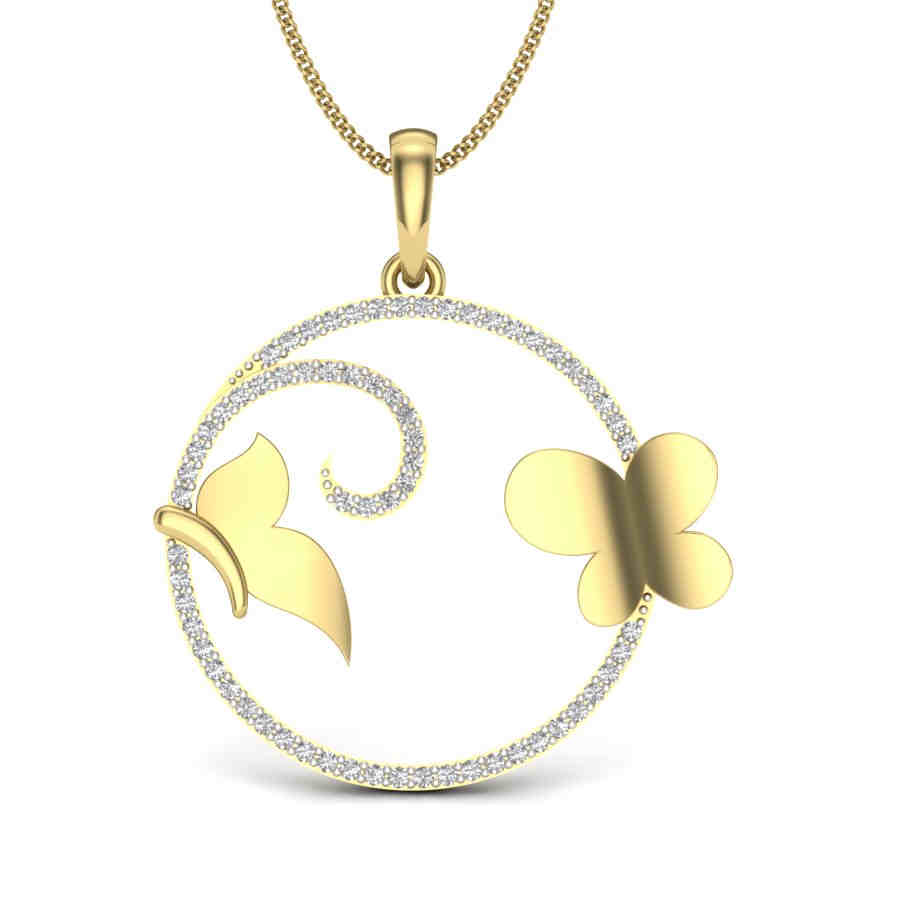 Rosy Butterfly Diamond Pendant