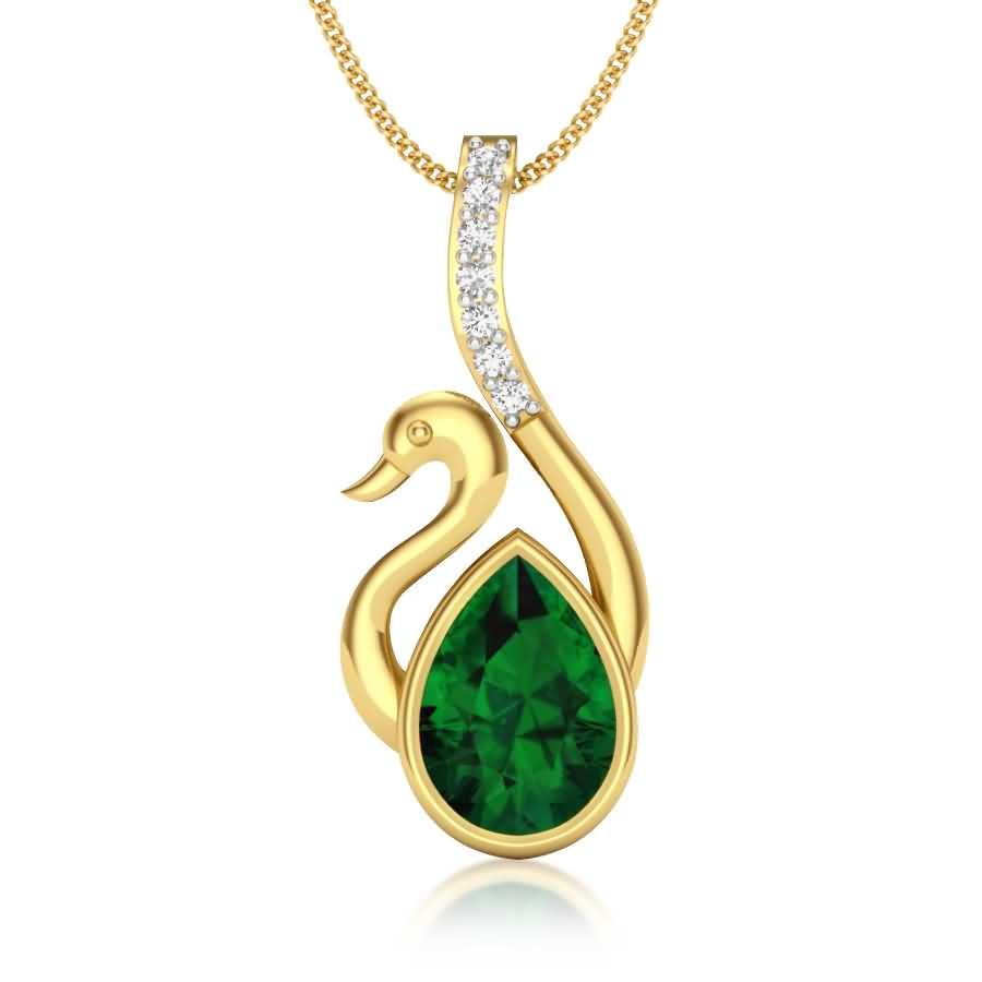 Green Stone Diamond Pendant