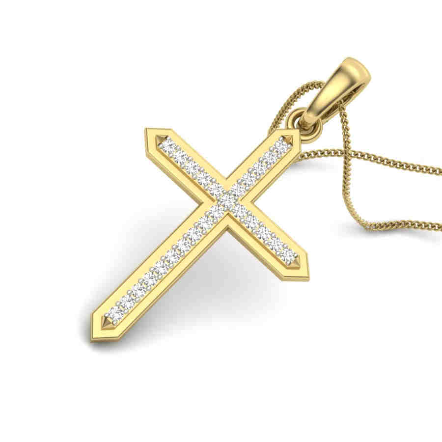 Crossed Oval Diamond Pendant