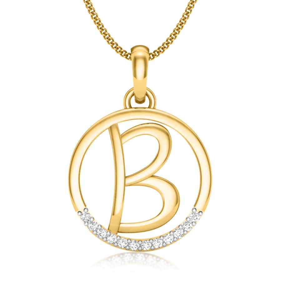 Latter B Diamond Pendant