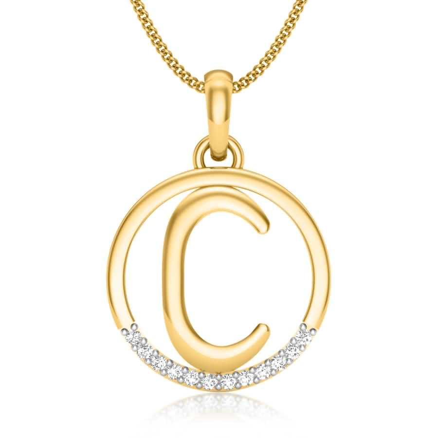 Letter C Diamond Pendant