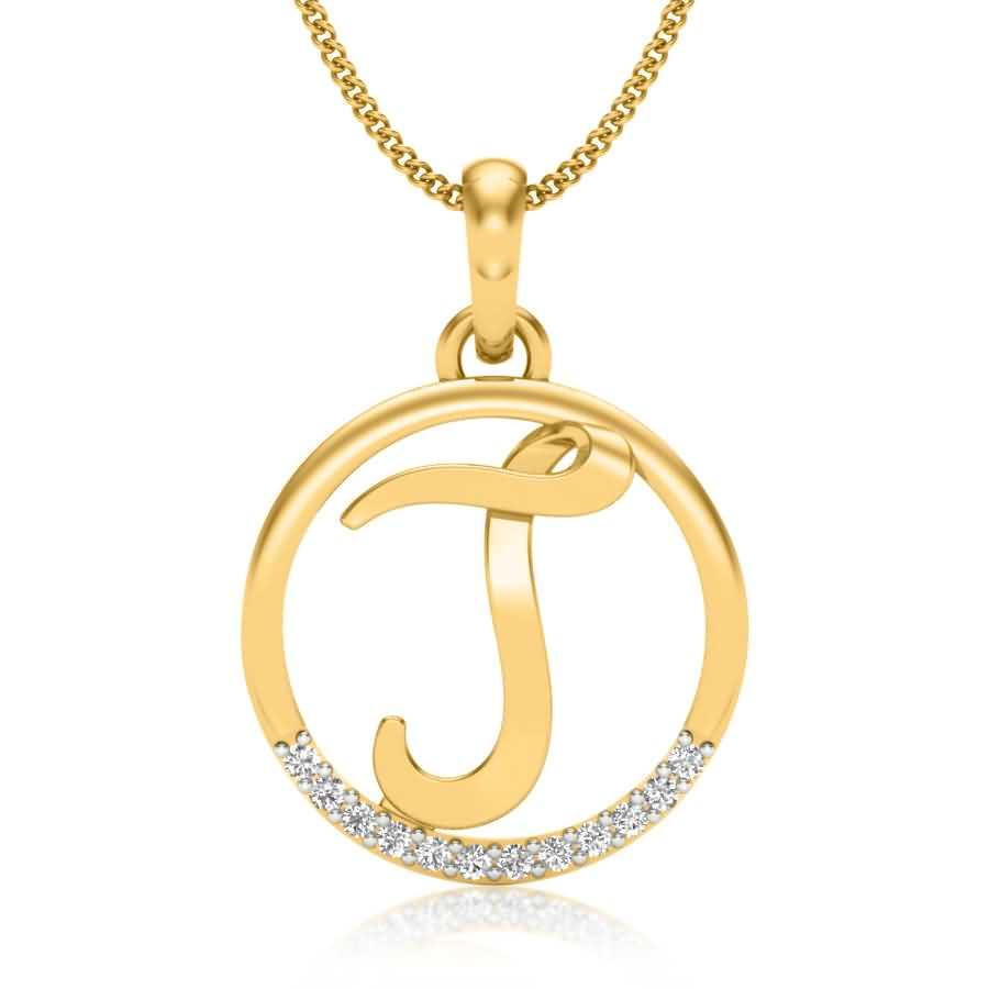 Letter J Diamond Pendant