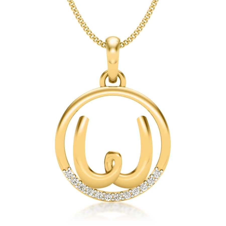 Letter W Diamond Pendant