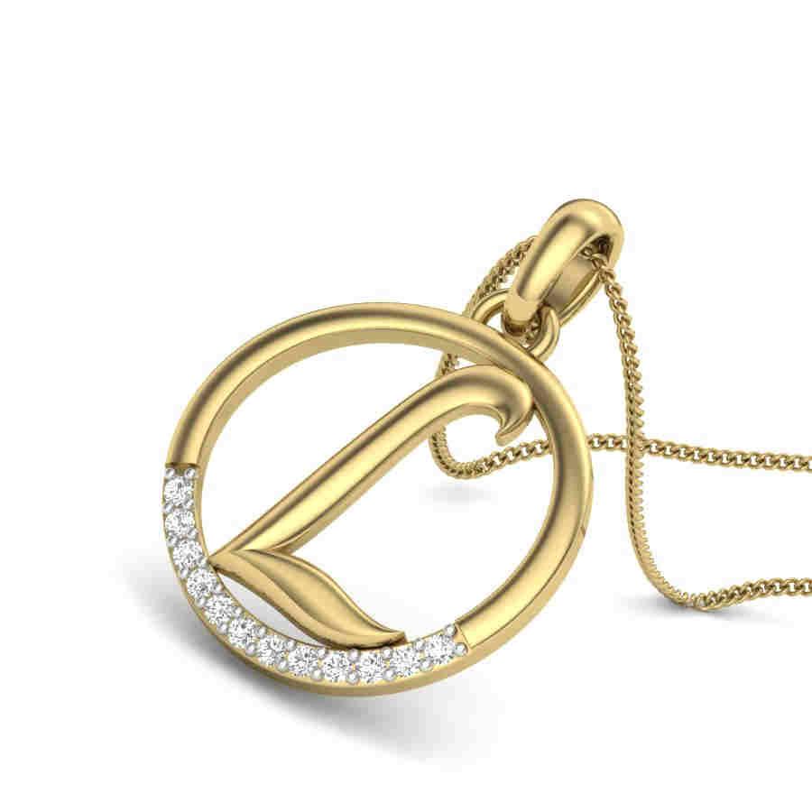 Letter L Diamond Pendant