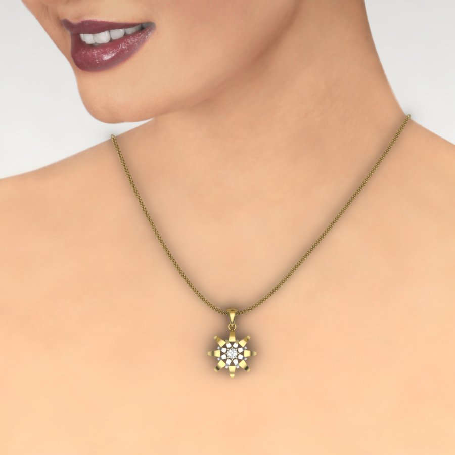 Star with One Diamond Pendant