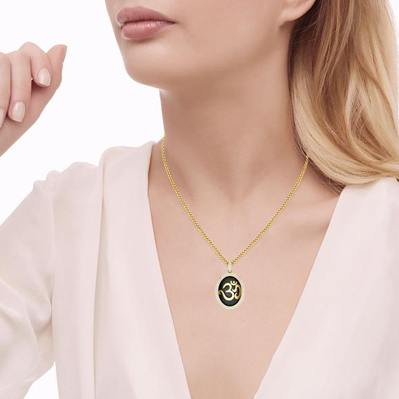 OM In Studded Circle Pendant