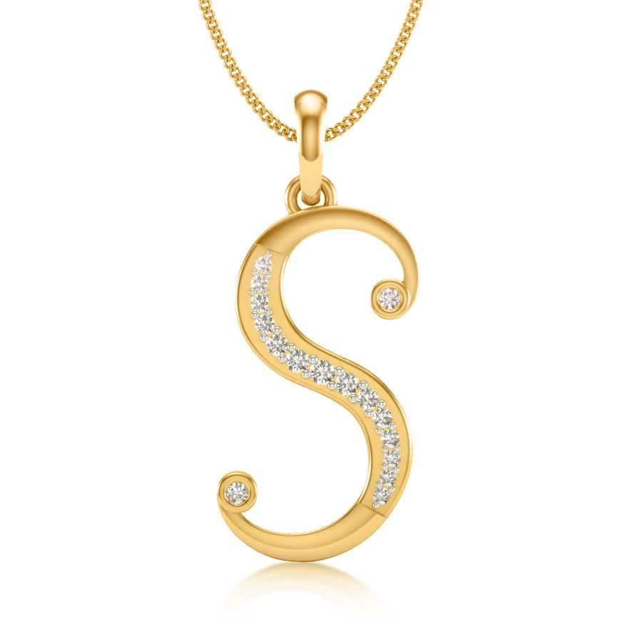 S Diamond Pendant