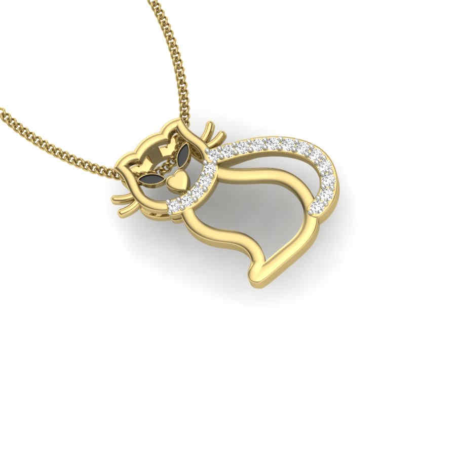 Simple Cat Diamond Pendant