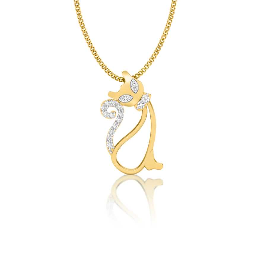 Sparkling Cat Diamond Pendant