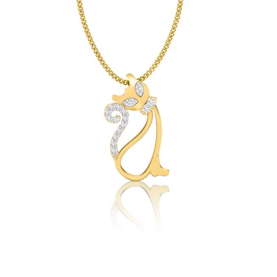 Sparkling Cat Diamond Pendant