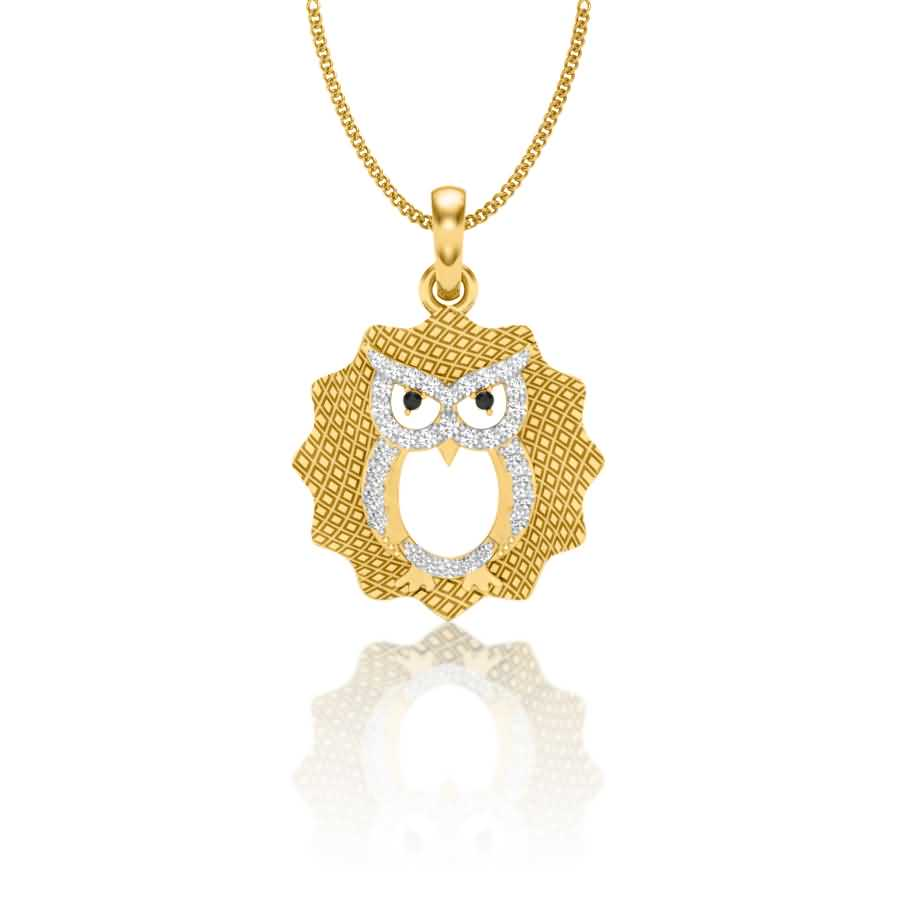 Owl Face Diamond Pendant