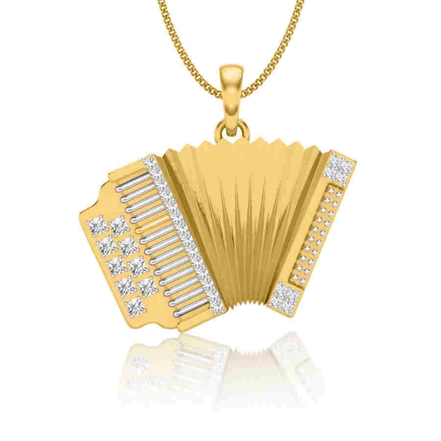 Accordion Shape Diamond Pendan