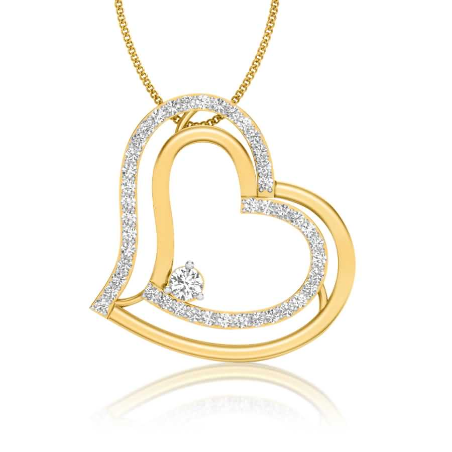 Sideways Heart Diamond Pendant